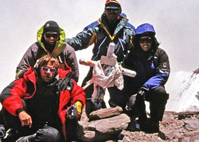 Summit of Aconcogua - Ty, John, Carlos, Christy
